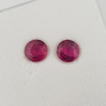 0.87ct Pair of Round Faceted Rubies 4.5mm
