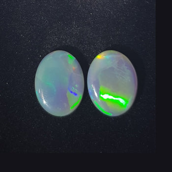 5.27ct Pair of Oval Cabochon Opals 12.1x9.4mm