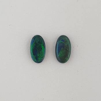 0.80ct Pair of Oval Cabochon Semi-Black Opals 7.6x4.2mm