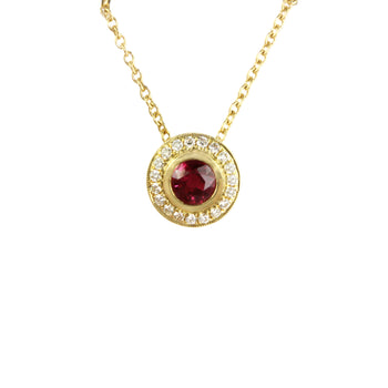 Ruby and Diamond Slider Pendant in 18ct Yellow Gold