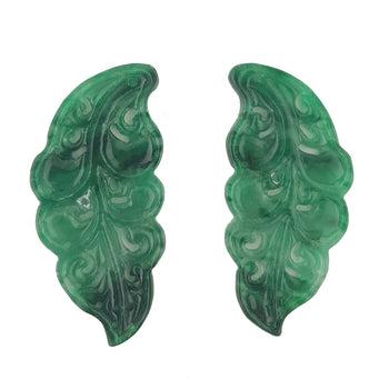 19.80ct Pair of Intricate Jade Carvings 36x27mm