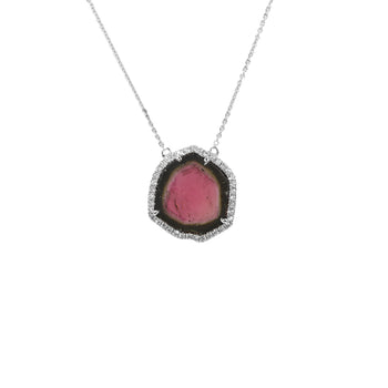 Watermelon Tourmaline Slice Pendant with Diamond Surround