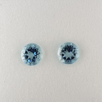 0.89ct Pair of Round Faceted Aquamarines 5.0mm