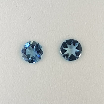 0.53ct Pair of Round Faceted Aquamarines 4.5mm