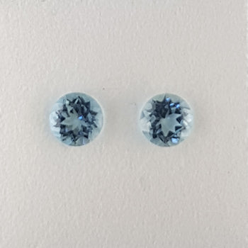 1.01ct Pair of Round Faceted Aquamarines 5.1mm