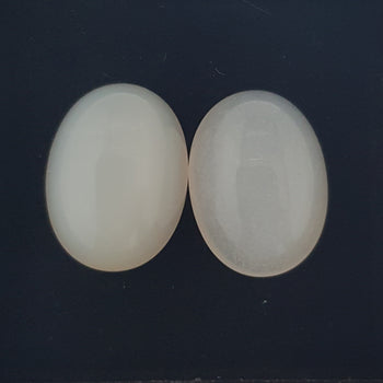 17.05ct Pair of Oval Cabochon White Moonstones 16x12mm