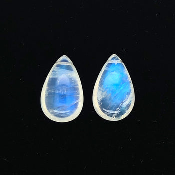14.64ct Pair of Drop Shape Rainbow Moonstones 16x10mm