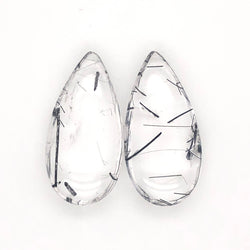 41.51ct Pair of Tourmalinated Quartz Drops 30x15mm