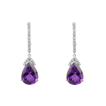 Pear Shape Amethyst and Diamond Drop Earrings