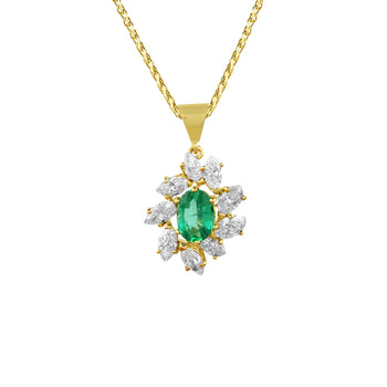 Oval Emerald and Marquise Cut Diamond Cluster Pendant