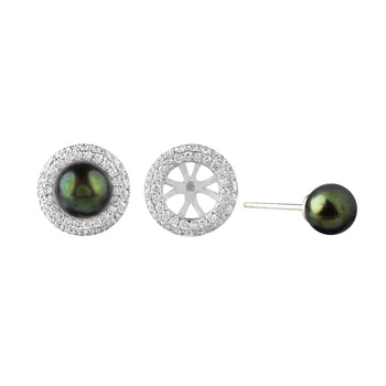 Green Freshwater Pearl & Diamond Removable Studs