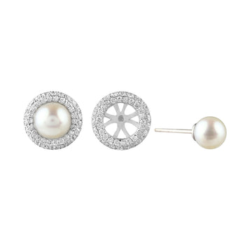 White Freshwater Pearl & Diamond Removable Studs
