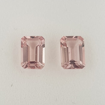 1.90ct Pair of Octagon Cut Morganites 7x5mm