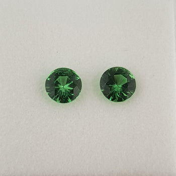 1.60ct Pair of Round Faceted Tsavorite Garnets 6mm
