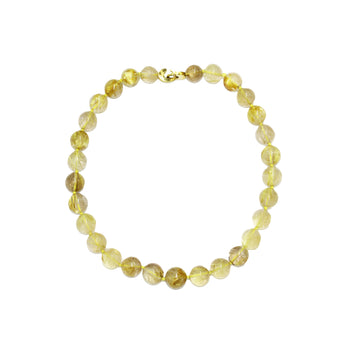18ct Gold, Rutilated Quartz Beaded Necklace