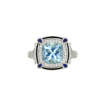 Aquamarine, Diamond and Sapphire Ring