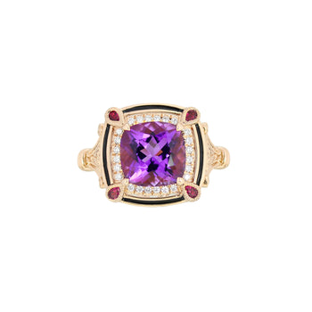 Amethyst Diamond & Ruby Ring