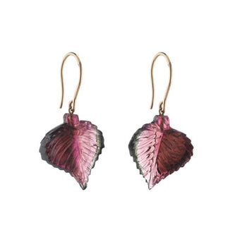 Carved Tourmaline Leaf Drop Earrings