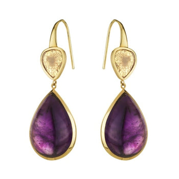 Amethyst And Diamond Slice Drop Earrings