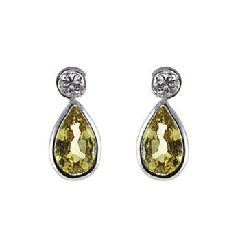 Yellow Sapphire & Diamond Drop Earrings