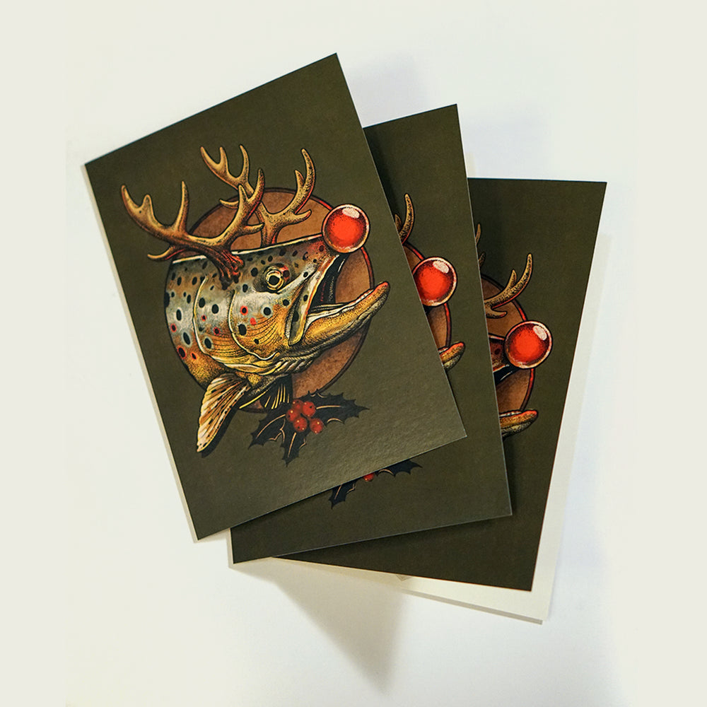 Brown Trout Rudolph Holiday Card | 3 Pack