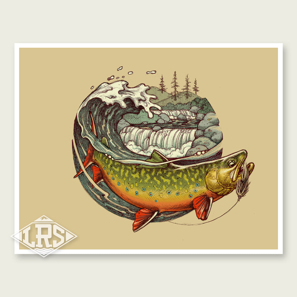 Brook Trout Wave Print