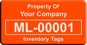 "0.75""x1.5"" F, 0.025"" Lacquered Aluminum(100 Labels) - Asset Labels"