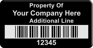 "0.75""x1.5"" H, 0.010"" Black Anodized Aluminum(100 Labels) - Asset Labels"