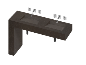 Balance 2 Double Bowl One-piece Vanity Sink