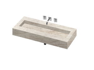 Silence 1200 Double Bowl One-piece Vanity Sink