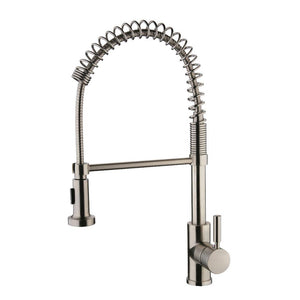 SPRING SPOUT Brushed Nickel Kitchen Faucet - PEARL Canada