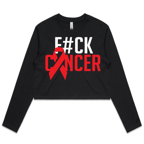 F#CK Cancer Women's Long Sleeve Crop Tee