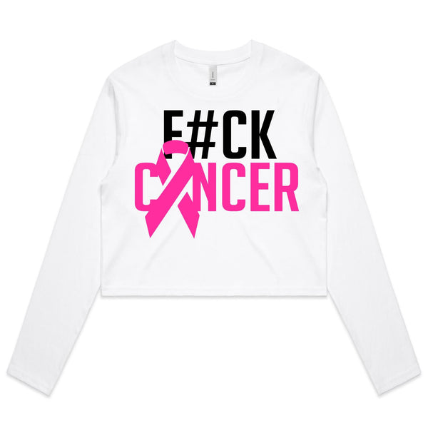 F#CK Breast Cancer Womens Long Sleeve Crop Tee