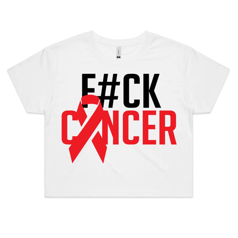 F#CK Cancer Women's Crop Tee (Alt-Print)
