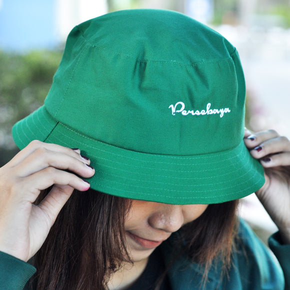 Topi Bucket Hat Simple Green