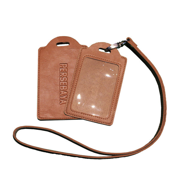 Leather Name Tag - Gantungan ID Card - Cokelat
