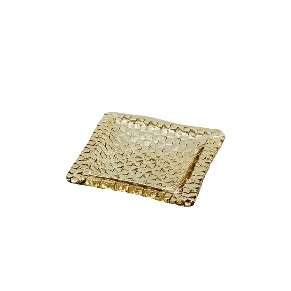 Grid square plate - Tan, 6.7inch