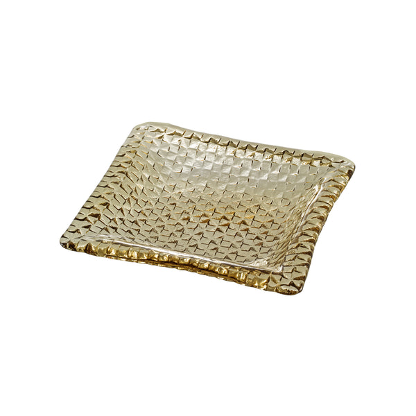 Grid square plate - Tan, 9.1inch