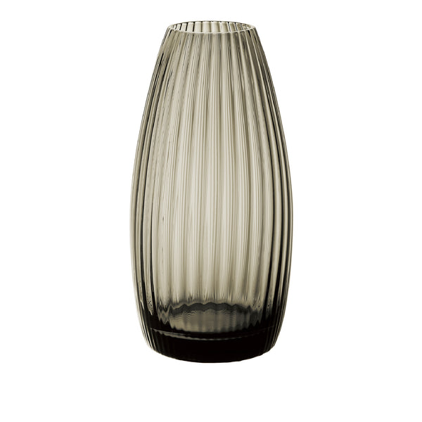lilas Wide Ribbed Vase - Carbon