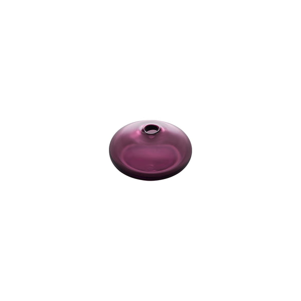 Flat Round Bud Vase - Wine Red