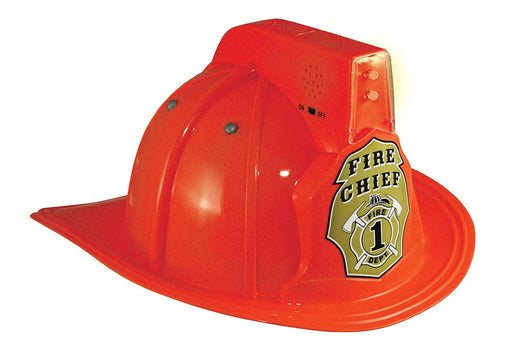 Jr. Firefighter Helmet, Red, w/Siren & Light, Adj Youth Size