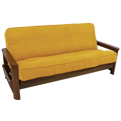 Solid Microsuede Double Corded 8 to 9-inch Full Futon Cover - Lemon