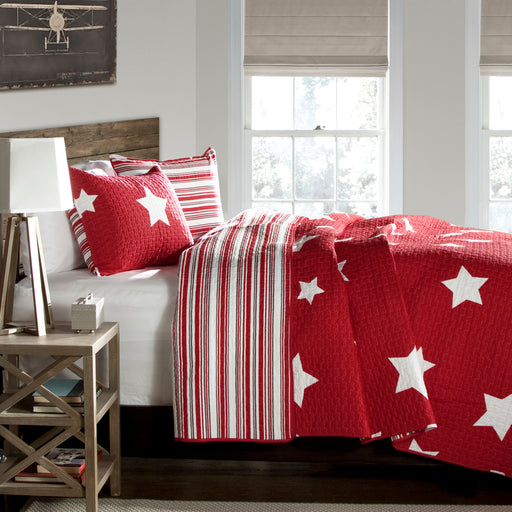 Star Quilt Red 2Pc  Set Twin