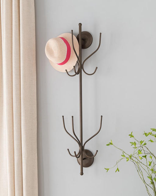 CR1479 Pewter Metal 12 Hook Wall Mounted Hat & Coat Rack