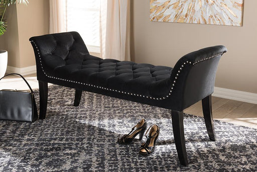 Baxton Studio Chandelle Luxe and Contemporary Black Velvet Upholstered Bench