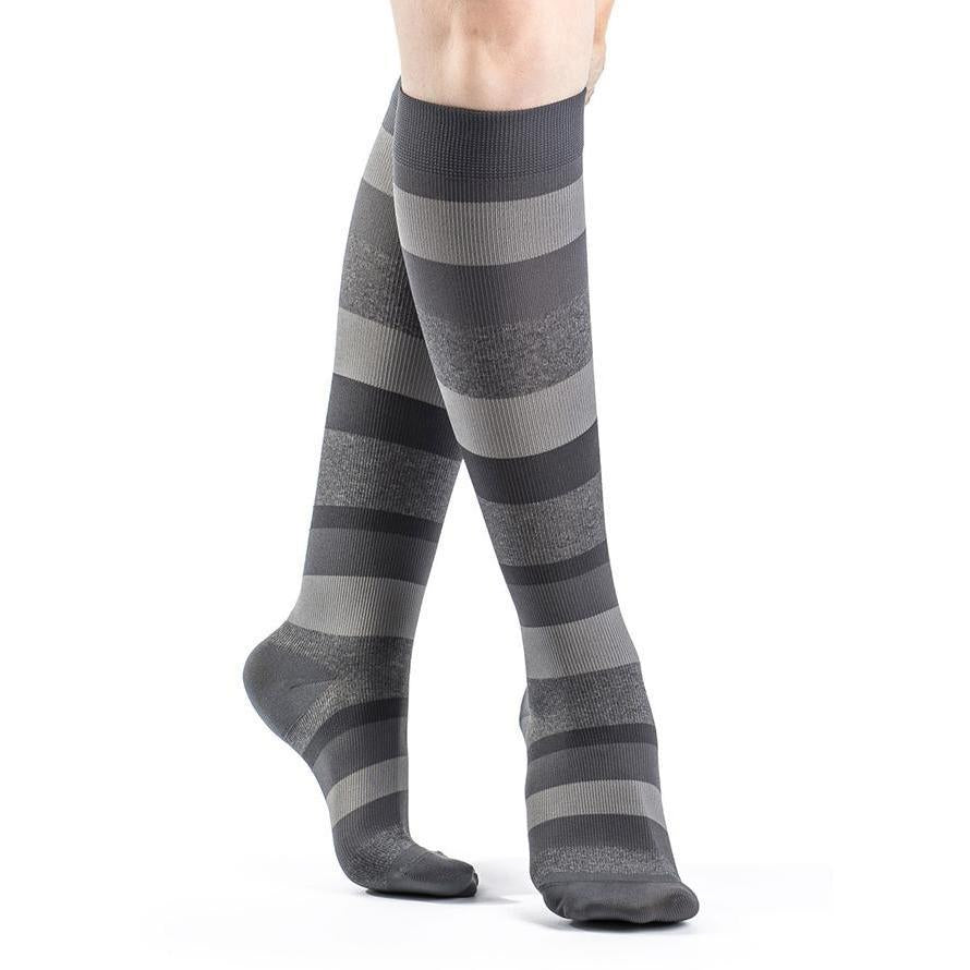 Sigvaris Women's Microfiber Shades Knee High, Graphite Stripe