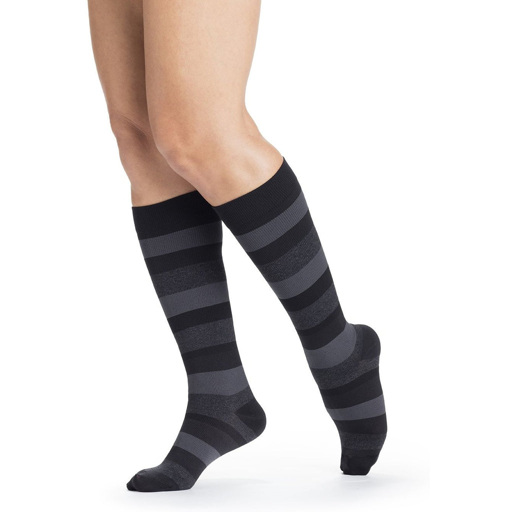 Sigvaris Women's Microfiber Shades Knee High, Onyx Stripe