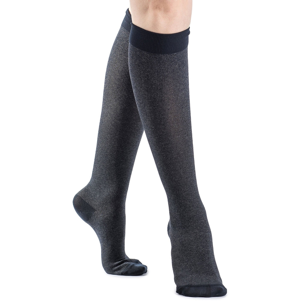 Sigvaris Women's Microfiber Shades Knee High, Navy Heather