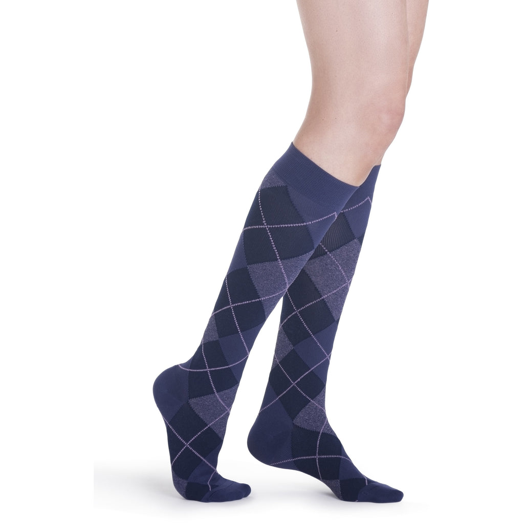 Sigvaris Women's Microfiber Shades Knee High, Purple Argyle