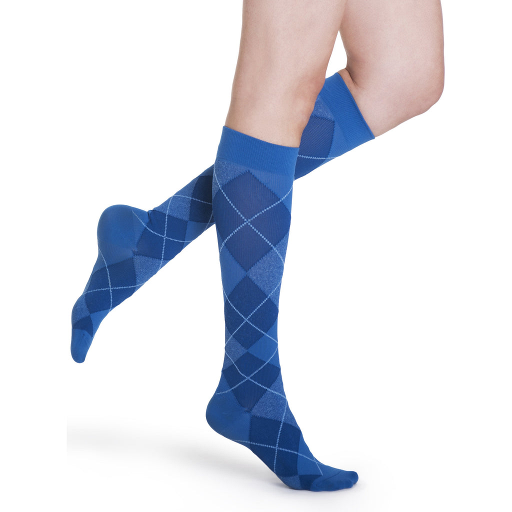 Sigvaris Women's Microfiber Shades Knee High, Royal Blue Argyle